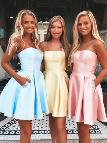 Short Strapless Blue/Yellow/Pink Prom Dresses with Pockets, Short Homecoming Graduation Dresses