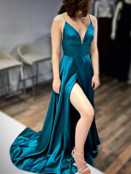 V Neck Blue Satin Long Prom Dresses With Leg Slit, V Neck Blue Satin Long Formal Evening Dresses