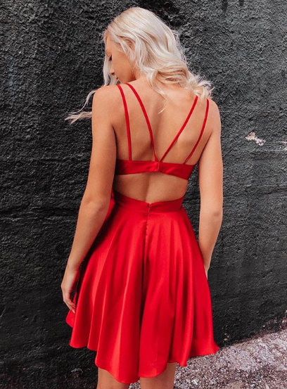 Simple A Line V Neck Red Satin Short Prom Dresses, V Neck Red Formal Dresses, Red Evening Dresses