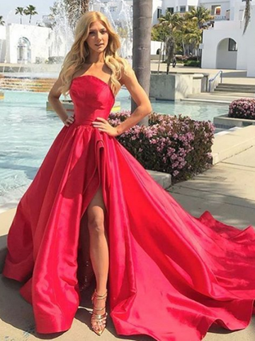 High Low Strapless Red Long Prom Gown, Strapless Red Long Prom Formal Evening Dresses