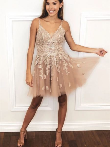 Champagne tulle Lace Short Prom Dress, V Neck Homecoming Dress