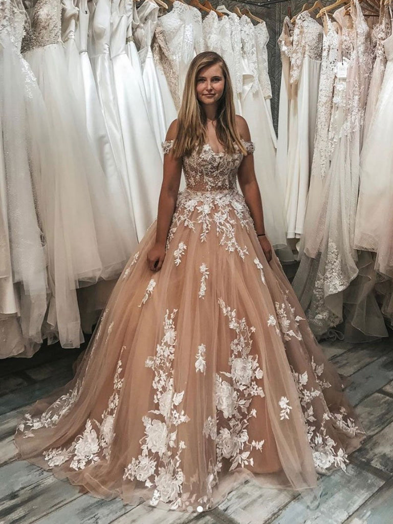 Stylish Off Shoulder Champagne Tulle Lace Long Prom Dress, Off Shoulder Champagne Lace Long Evening Dress