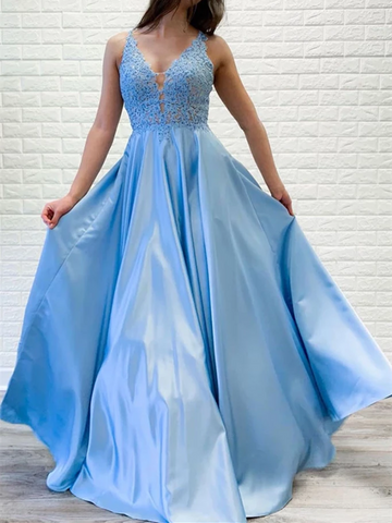 A Line V Neck Blue Lace Long Prom Dresses, A Line V Neck Blue Lace Long Formal Evening Dresses