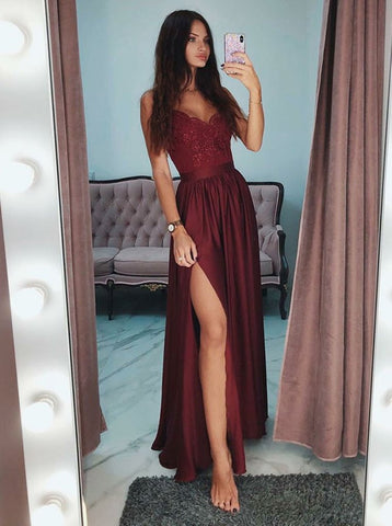 A Line V Neck Burgundy Lace Prom Dresses with Side Slit, Burgundy Lace Spaghetti Straps Graduation Dresses, Burgundy Lace Formal Dresses