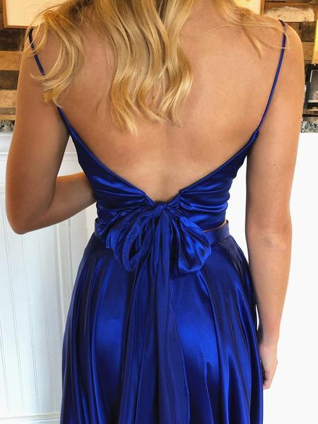 V Neck 2 Pieces Backless Royal Blue Long Prom Dresses with Leg Slit, Two Pieces Royal Blue Formal Graduation Evening Dresses
