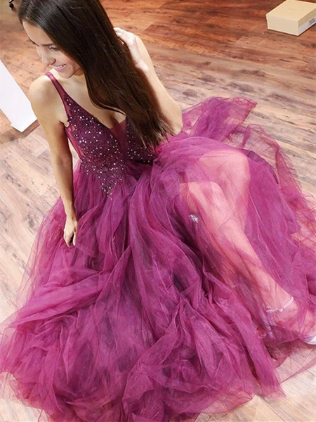 A Line V Neck Purple Tulle Long Prom Dresses With Beaded, Purple Beaded Long Formal Evening Dresses