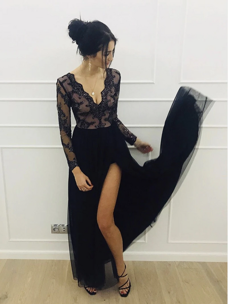 Black V Neck Tulle Long Sleeves Prom Dresses, Long Sleeves Black Long Formal Evening Dresses