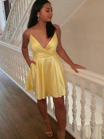 V Neck Yellow Satin Short Prom Dresses, Homecoming Dresses, V Neck Yellow Formal Graduation Evening Dresses