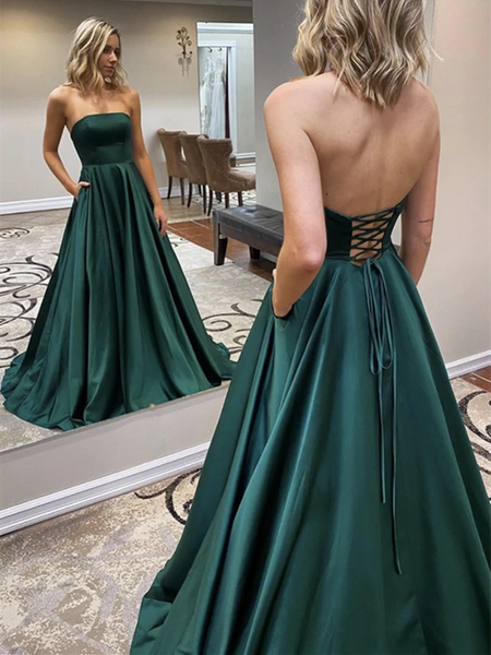 A Line Strapless Green Satin Long Prom Dresses, Simple Green Formal Evening Party Dresses