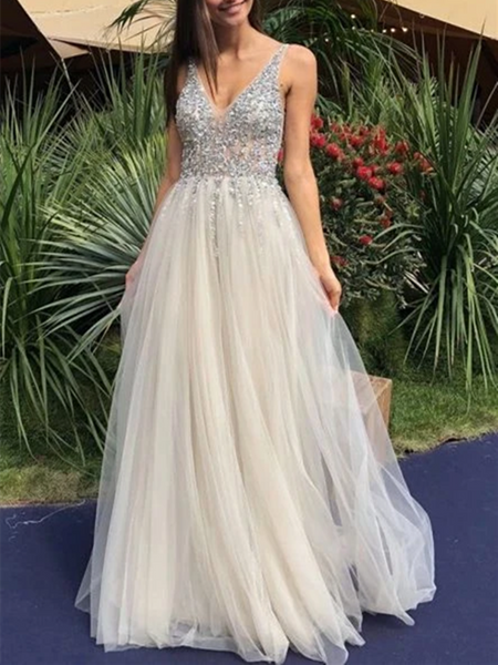 A Line V Neck Backless Tulle Beaded Ivory Long Prom Dresses, Ivory Beaded Open Back Formal Evening Dresses