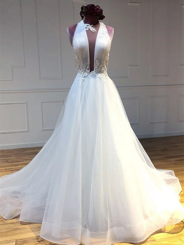 Unique White Tulle Long Prom Dresses, White Tulle Long Evening Dresses
