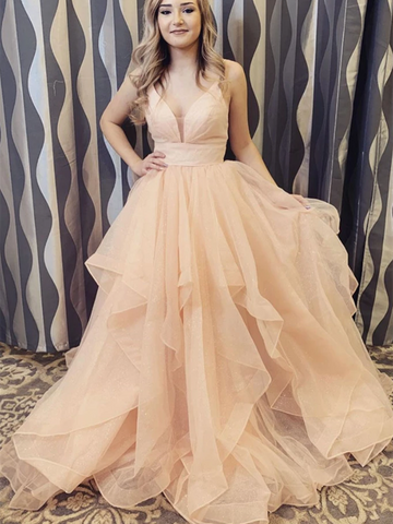 V Neck Champagne Tulle Long Prom Dresses, V Neck Champagne Tulle Long Formal Evening Dresses