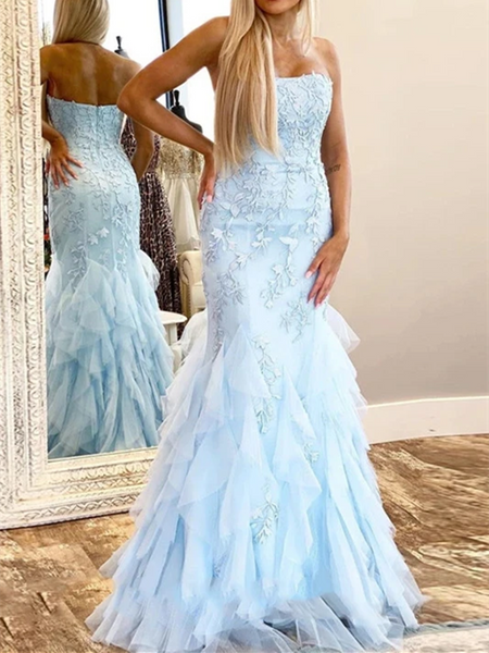 Strapless Mermaid Blue Lace Long Prom Dresses, Blue Mermaid Lace Formal Evening Party Dresses