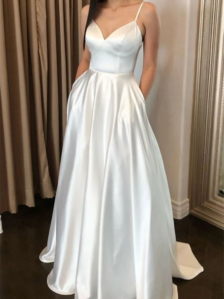 V Neck White Satin Long Prom Dresses, White Satin Long Formal Evening Dresses