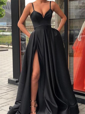 A Line V Neck Black Satin Long Prom Dresses With High Leg Slit, Long Black Formal Evening Dresses With pockets