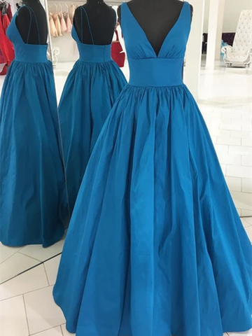 A Line V Neck Blue Long Prom Dresses, Blue Long Formal Evening Graduation Dresses