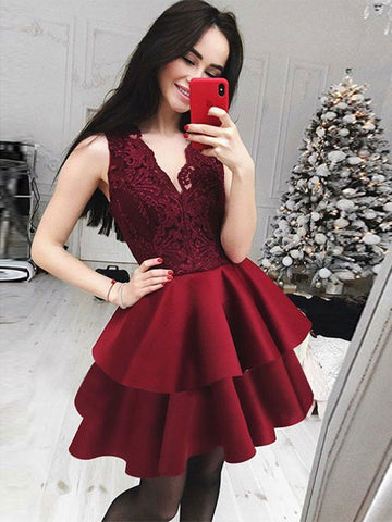 V-Neck Lace Short Burgundy Homecoming Dress ,Graduation Dress, Lace Short Burgundy Prom Dress