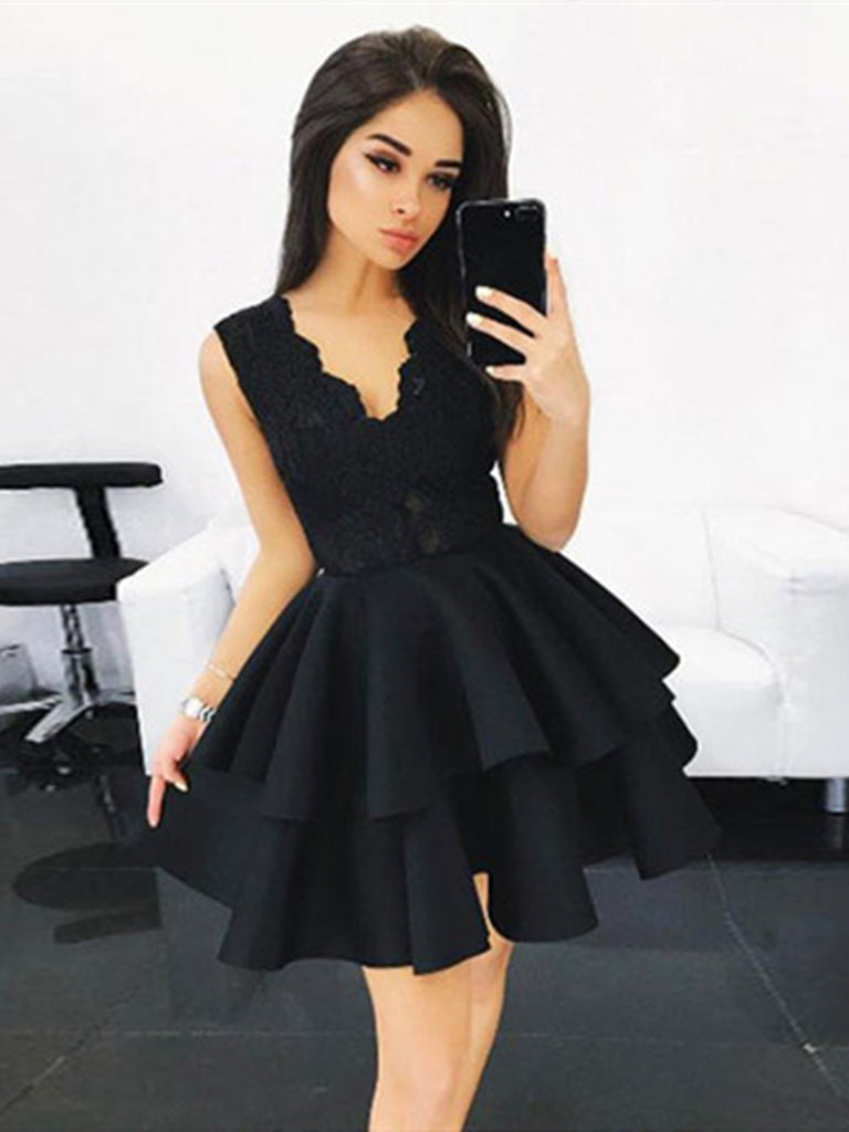 V-Neck Lace Short Black Homecoming Dress ,Graduation Dress, Lace Short Black Prom Dress