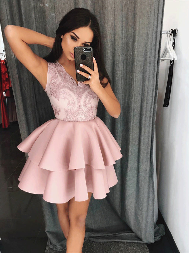 V-Neck Lace Short Pink Homecoming Dress ,Graduation Dress, Lace Short Pink Prom Dress