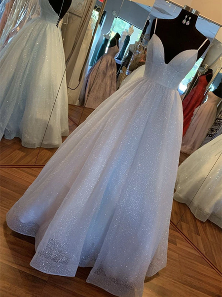 A Line V Neck Light blue Backless Sequins Long Prom Dresses, Light blue Backless Sequins Formal Evening Dresses