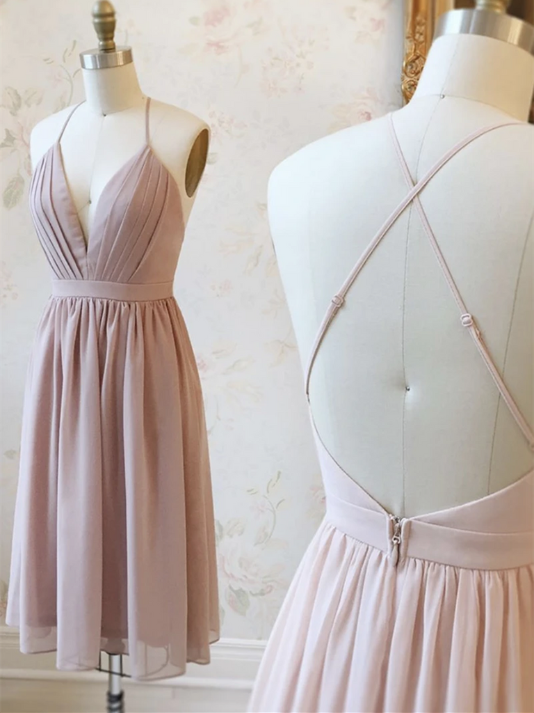 Cute V Neck Pink Backless Chiffon Short Prom Dresses, Pink Backless Short Homecoming Evening Dresses