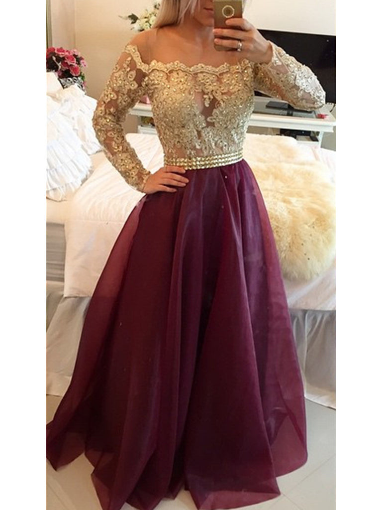 Custom Made Long Sleeves Maroon Prom Dress with Golden Top, Maroon And Golden Formal Dress