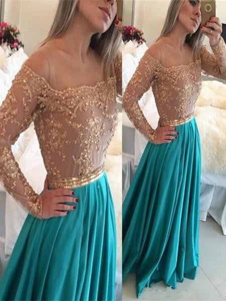 A Line Long Sleeves Champagne and Turquoise Lace Prom Dress, Turquoise Bridesmaid Dress, Lace Formal Dress