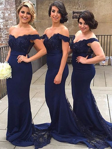 Sweetheart Neck Off Shoulder Navy Blue Lace Prom Dresses, Navy Blue Lace Bridesmaid Dress, Formal Dress