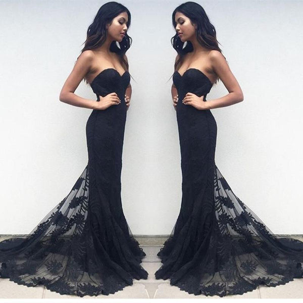 Custom Made Sweetheart Neck Black Lace Prom Dresses, Black Lace Formal Dresses, Bridesmaid Dresses