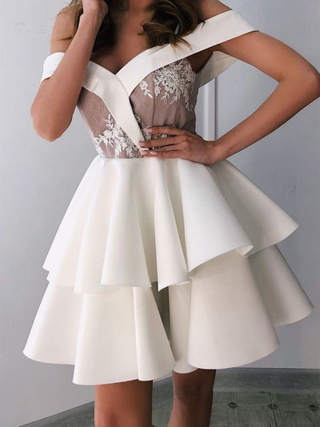 White v neck lace short prom dress, Off shoulder lace short graduation homecoming dress