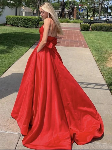 A Line V Neck Red Backless Long Prom Dresses, V Neck Red Long Formal Evening Dresses
