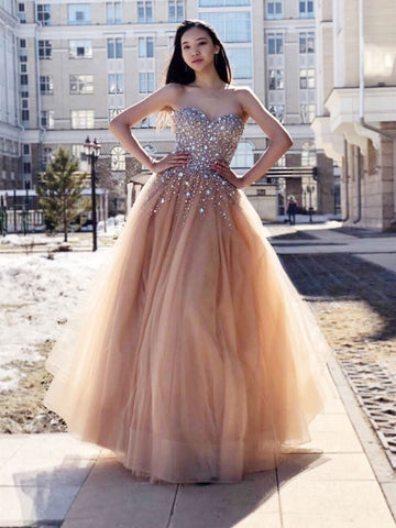 079847a9a96b champagne Stylish Sweetheart Neck Tulle Beads Long Prom Dress, Sweetheart  Neck Tulle Beads Long Evening