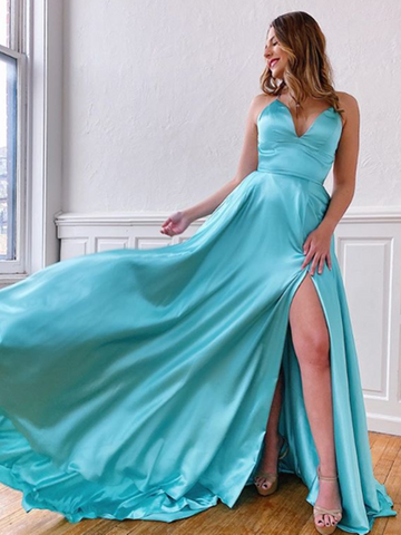 A Line V Neck Blue Backless Satin Long Prom Dresses With Leg Slit,  V Neck Blue Backless Satin Long Formal Evening Dresses