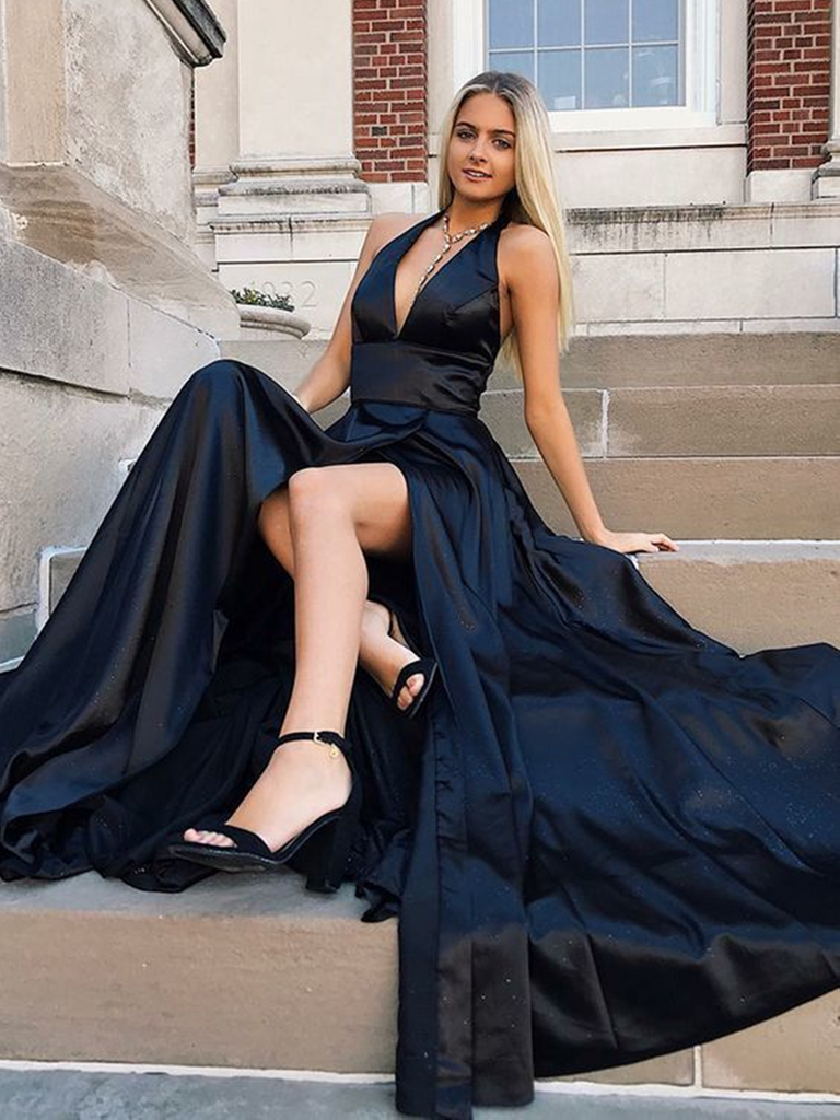 Deep V Neck High Front Split Sexy Black Satin Long Prom Dresses, Black V Neck Formal Evening Party Dresses