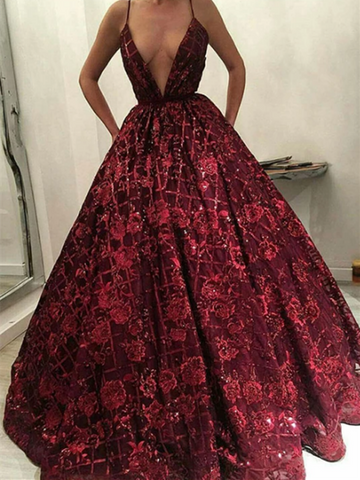 Burgundy V Neck Sequins Long Prom Dress, Burgundy V Neck Sequins Long Formal Evening Dress