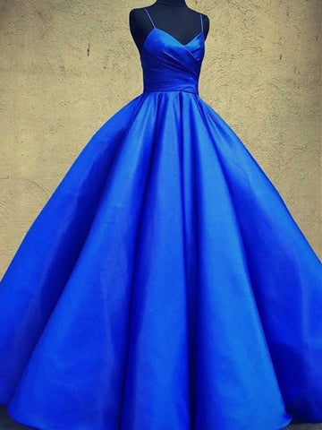 Dark Blue V Neck Satin Long Prom Gown, Dark Blue V Neck Satin Long Formal Evening Dress