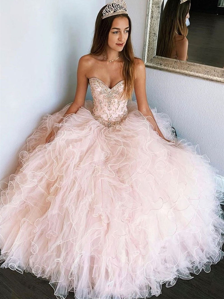 Pink Tulle Beads Long Prom Gown, Sweetheart Neck Pink Tulle Beads Long Formal Evening Dress