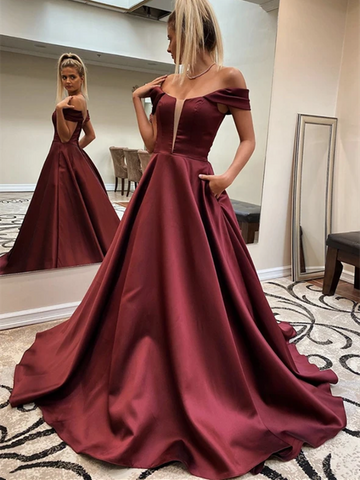 Burgundy Off Shoulder Satin Long Prom Dresses, Burgundy Off The Shoulder Satin Long Formal Evening Dresses