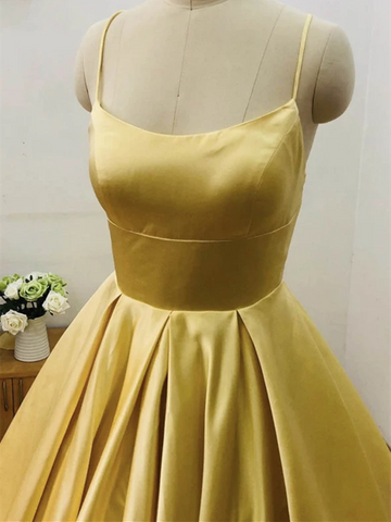 A Line Yellow Satin Long Prom Dresses, Yellow Satin Long Formal Evening Dresses