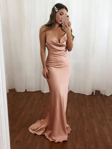 Simple V Neck Blush Mermaid Open Back Spaghetti Straps Long Prom Dresses, Open Back V Neck Blush Mermaid Formal Evening Dresses