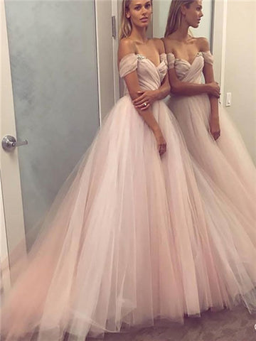 Off shoulder ball gown tulle beaded prom dresses, Light pink sleeveless evening dresses