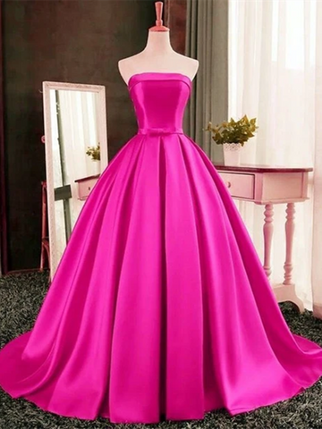Sexy Pink Strapless Satin Long Ball Gowns Prom Dresses,  Pink Strapless Satin Long Formal Evening Dresses