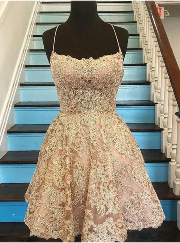 Champagne Backless Lace Short Prom Dresses, Short Lace Formal Graduation Homecoming Dresses