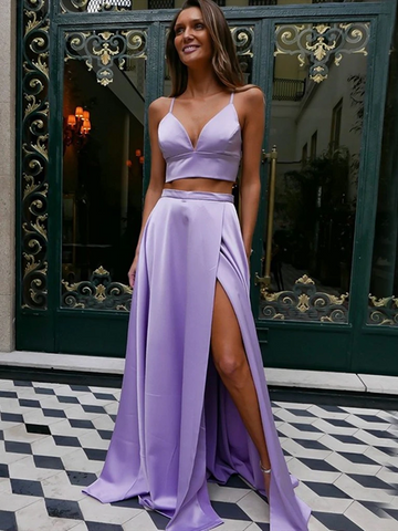 A Line V Neck Purple Two Pieces Satin Lilac Long Prom Dresses with High Leg Slit, Lavender Formal Evening Dresses