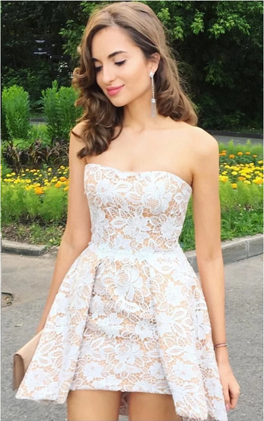 Strapless Strap Short Champagne Prom Dresses with White Lace, Short Lace Formal Homecoming Evening Dresses