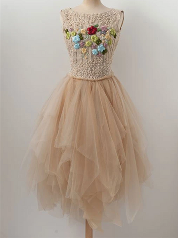 Round Neck Hollow Back Champagne Beaded Hand Made Flower Tulle Short Prom Dresses, Open Back Champagne Beaded Tulle Short Evening Homecoming Dresses