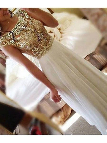 A Line Round Neck Cap Sleeves Floor Length Prom Dress, Cap Sleeves Formal Dresses
