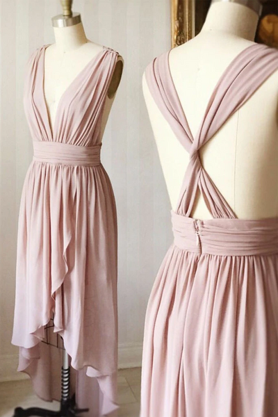 V Neck Dusty Pink High Low Chiffon Prom Dresses,  High Low Blush pink Formal Evening Homecoming Dresses, Bridesmaid Dresses with Cross Back