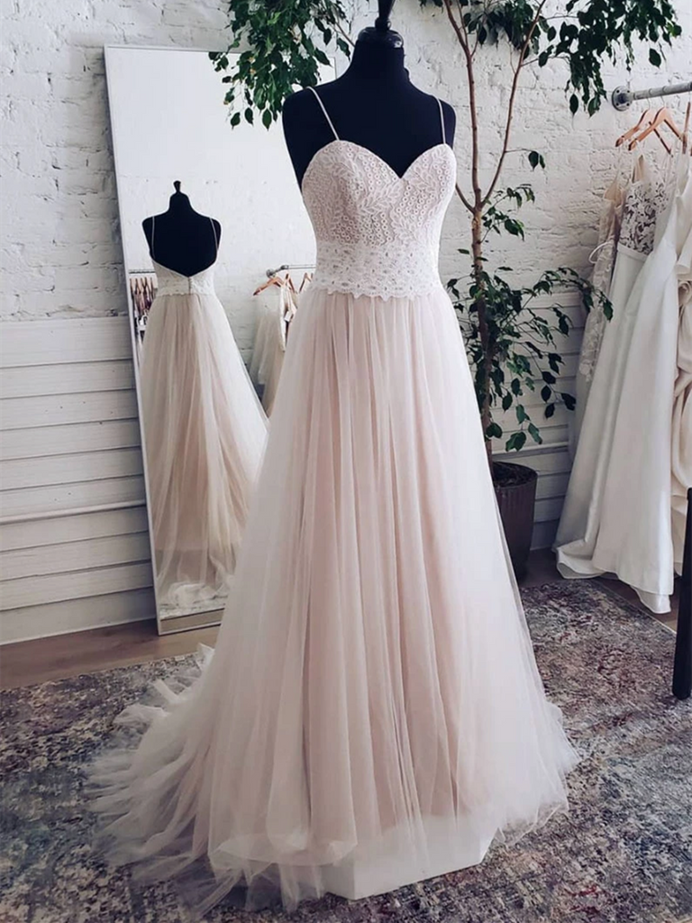 Champagne Backless Sweetheart Lace Tulle Long Prom Dresses, Backless Sweetheart Lace Tulle Long Formal Evening Dresses