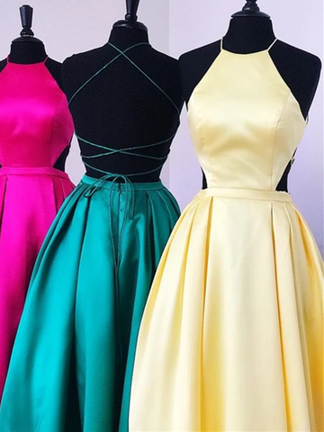 Simple Yellow/Green Backless Satin Long Prom Dresses with Lace up Back, Fashion Yellow/Green Backless Satin Long Winter Formal Dresses